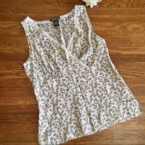 Eddie Bauer silk blouse top S floral sleeveless